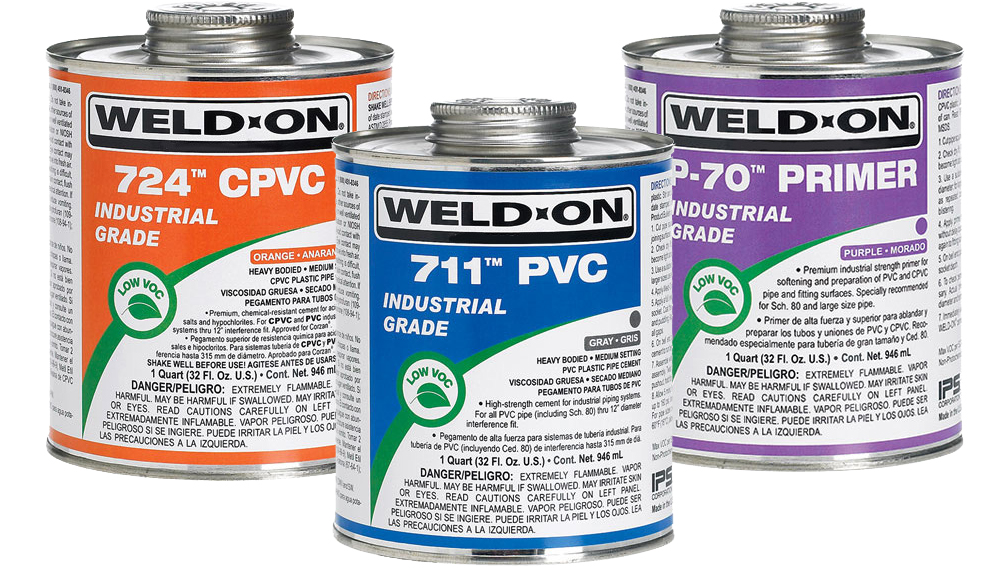 Weld-On solvent cements, cleaners and primers for PVC and CPVC